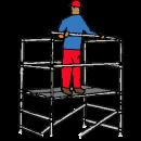 Stegställning 1,3x2,0 meter, Höjd 4,0 meter, Med stegar